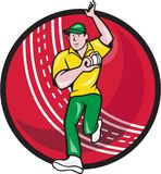 Cricket Fast Bowler Bowling Ball Front Cartoon. Illustration of a cricket player fast bowler bowling with cricket ball in background isolated on white Royalty Free Stock Photo