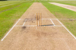 Cricket Field Pitch`s Wickets Grounds Stock Photography