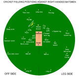 Cricket fielding positions. Various fielding positions in the game of cricket for right-handed batsmen Royalty Free Stock Photo
