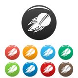 Cricket fire ball icons set color royalty free illustration