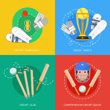 Cricket 4 flat icons composition Royalty Free Stock Photos