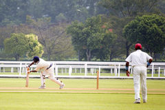Cricket Game. Players in action in an international friendly cricket game Royalty Free Stock Image