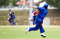 Cricket Game. Fielder in action Royalty Free Stock Images