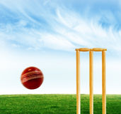 Cricket game. A photo of cricket stumps and cricket ball and bat Royalty Free Stock Image