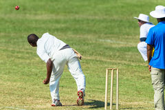 Cricket Game Action Bowler. Cricket game bowler bowling action umpire fielder teenagers high schools stock photos