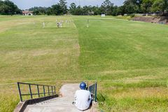Cricket Waiting Batsman Royalty Free Stock Photos