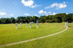Cricket Game Players Sport. Players fielding walking onto playing field for cricket game between batsmen and bowlers between Westville plays Durban Boys High 1st stock photo