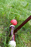 Cricket game, stick and ball Stock Images
