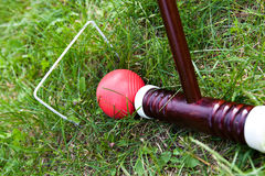 Cricket game, stick and ball Royalty Free Stock Photography