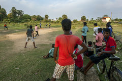 A cricket game on Sunday afternoon in Uppuveli on the east coast of Sri Lanka. Royalty Free Stock Image