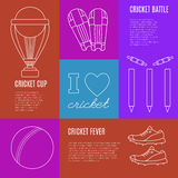 Cricket game vector concept. Royalty Free Stock Photography