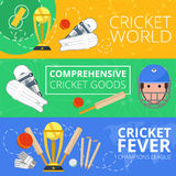 Cricket horizontal banners flat Royalty Free Stock Image