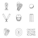 Cricket icons set black outline. Cricket equipment icons set with keeping gloves and winner trophy sketch abstract black outlined isolated vector illustration Royalty Free Stock Image