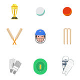 Cricket icons set flat Royalty Free Stock Images
