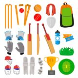 Cricket Icons Set Vector. Cricketer Accessories. Bat, Gloves, Helmet, Ball, Cup, Playing Field. Isolated Flat Cartoon stock illustration