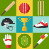Cricket icons. Vector set of cricket icons in flat design style Stock Photos