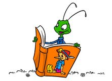 Cricket insect reading a book Pinocchio Royalty Free Stock Photos