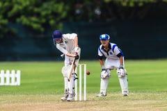 Cricket Junior Action Batsman Stock Photo