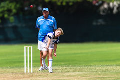 Cricket Junior Bowler Umpire Stock Image