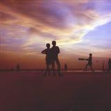 Cricket. Kids playing cricket on the beach in Gokarna, India royalty free stock photos