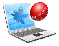 Cricket laptop broken screen concept Royalty Free Stock Photo