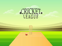 Cricket league concept with stumps and red ball. Stock Photography