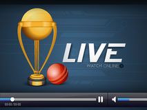 Cricket live video player window. Royalty Free Stock Photo