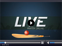 Cricket live video player window. Royalty Free Stock Photos