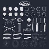 Cricket logo creation kit. Sports logo designs. Cricket icons vector set. Create your own emblem design fast. Sports royalty free illustration