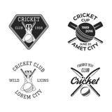 Cricket logo set, sports template emblems elements - ball, bat. Use as icons, badges, label designs or print. Cricket. Logo graphics. Stock illustration sport vector illustration