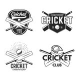 Cricket logo set, sports template emblems elements - ball, bat. Use as icons, badges, label designs or print. Cricket. Logo graphics. Stock illustration sport royalty free illustration