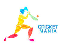 Cricket Mania concept with Batsman. Royalty Free Stock Images