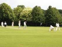Cricket match. Image of a southern league cricket match being played in the english town of Andover on 9th july 2011 Royalty Free Stock Images