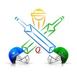 Cricket match emblem, participating countries India vs Pakistan. vector illustration