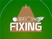 Cricket match fixing concept with dollar and ball. Cricket match fixing concept with bundle of dollar and white ball on field background Stock Photography