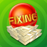 Cricket Match Fixing concept with Dollar Bundles. Stock Photo