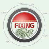 Cricket match fixing concept with statistics and dollar. royalty free illustration