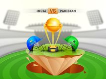 Cricket match between India vs Pakistan with illustration of cricket attire helmets. stock illustration