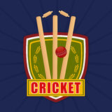 Cricket match objects with winning shield. Royalty Free Stock Photo