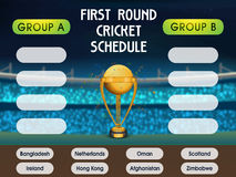 Cricket Match Schedule with Participant Countries. Royalty Free Stock Images