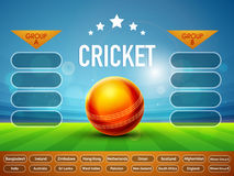 Cricket Match Schedule with Participant Countries. Royalty Free Stock Image
