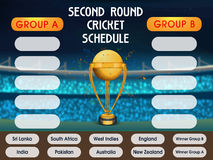 Cricket Match Schedule with Participant Countries. Stock Photo
