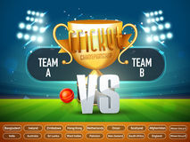 Cricket Match Schedule with Participant Countries. Stock Image