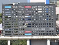 Cricket Match Score Board in a Stadium Royalty Free Stock Photos