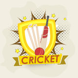 Cricket objects with winning shield. Stock Image