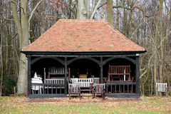 Cricket pavilion filled with chairs Stock Photography
