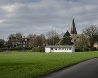 Cricket Pavillion on a Village Green Stock Photos