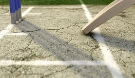 Cricket Pitch Ball And Wickets stock illustration