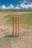 Cricket pitch and blue sky Stock Image