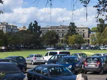 The Cricket Pitch in Corfu town on the Greek Island of Corfu Stock Photos